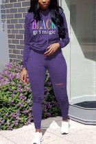 purple Polyester Fashion Sexy adult Ma'am Print Burn-out Two Piece Suits pencil Long Sleeve Two Pieces