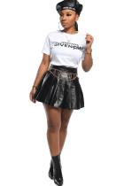 Black PU Elastic Fly Mid Solid Pleated skirt shorts