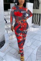 Red Fashion Sexy Adult Polyester Print Tie Dye Tie-dye O Neck Long Sleeve Regular Sleeve Short Two Pieces