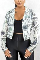 White Fashion Street Adult Polyester Print Turndown Collar Outerwear