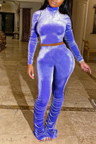 Blue Sexy Polyester Solid Split Joint Turtleneck Long Sleeve Regular Sleeve Two Pieces