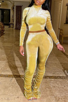 Yellow Sexy Polyester Solid Split Joint Turtleneck Long Sleeve Regular Sleeve Two Pieces