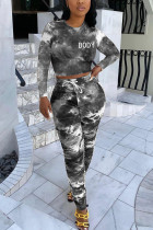 Black Fashion Sexy Adult Polyester Print Tie Dye Tie-dye O Neck Long Sleeve Regular Sleeve Short Two Pieces