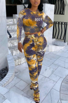 Yellow Fashion Sexy Adult Polyester Print Tie Dye Tie-dye O Neck Long Sleeve Regular Sleeve Short Two Pieces