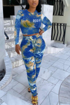 Blue Fashion Sexy Adult Polyester Print Tie Dye Tie-dye O Neck Long Sleeve Regular Sleeve Short Two Pieces