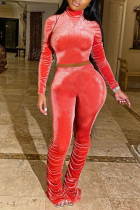 Red Sexy Polyester Solid Split Joint Turtleneck Long Sleeve Regular Sleeve Two Pieces