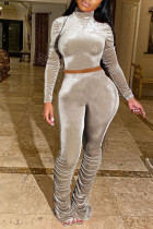 Khaki Sexy Polyester Solid Split Joint Turtleneck Long Sleeve Regular Sleeve Two Pieces