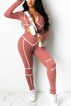 Pink Sexy Polyester Solid Split Joint V Neck Long Sleeve Regular Sleeve Short Two Pieces