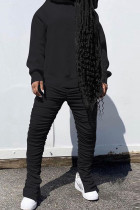 Black Fashion Sexy Adult Polyester Solid Split Joint Fold Hooded Collar Long Sleeve Regular Sleeve Regular Two Pieces