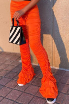 Orange Fashion Sexy Casual Polyester Cotton Blends Solid Fold Pants Boot Cut Bottoms