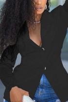 Black Sweet Polyester Solid Hollowed Out Split Joint V Neck Outerwear
