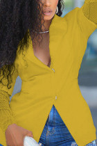Yellow Sweet Polyester Solid Hollowed Out Split Joint V Neck Outerwear
