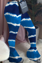 Blue Fashion Sexy Adult Polyester Print Tie-dye Boot Cut Bottoms