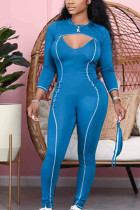 Blue Sexy Polyester Twilled Satin Solid O Neck Skinny Jumpsuits