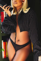 Black Sexy Polyester Cotton Blends Striped Draw String Turn-back Collar Outerwear