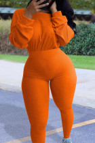 Orange Fashion Casual Adult Polyester Solid O Neck Skinny Jumpsuits