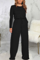 Black Fashion Sexy Adult Polyester Solid Draw String O Neck Loose Jumpsuits