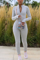 Grey Fashion Sportswear Adult Milk Fiber Solid O Neck Skinny Jumpsuits