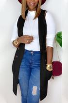 Black Fashion British Style Adult Solid Cardigan Turndown Collar Tops