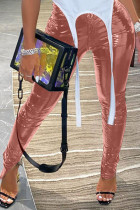 Pink Sexy Street Patent Leather Solid Slit Skinny Bottoms