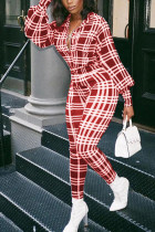 Red Fashion Casual Adult Polyester Plaid Turndown Collar Skinny Jumpsuits