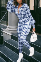 Blue Fashion Casual Adult Polyester Plaid Turndown Collar Skinny Jumpsuits