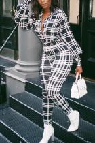 Black Fashion Casual Adult Polyester Plaid Turndown Collar Skinny Jumpsuits