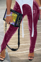 Wine Red Sexy Street Patent Leather Solid Slit Skinny Bottoms