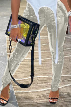 Silver Sexy Street Patent Leather Solid Slit Skinny Bottoms