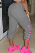 Grey Casual Sportswear Polyester Spandex Solid Bandage Pants Basic Strap Design Loose Bottoms