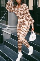 Khaki Fashion Casual Adult Polyester Plaid Turndown Collar Skinny Jumpsuits
