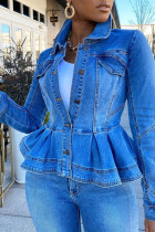 Baby Blue Work Solid Split Joint Turndown Collar Long Sleeve Regular Denim