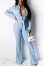 Baby Blue Fashion Casual Solid Make Old Pocket Buckle Metal Accessories Decoration Pants With Belt Shirt Collar Long Sleeve Boot Cut Denim
