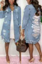 Baby Blue Fashion Casual Adult Solid Ripped Turndown Collar Long Sleeve Straight Denim
