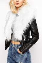 White Fashion Street Adult Artificial Furs Solid Split Joint V Neck Outerwear