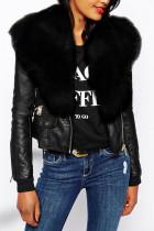 Black Fashion Street Adult Artificial Furs Solid Split Joint V Neck Outerwear