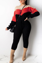 Red Fashion Casual Adult Polyester Print Split Joint O Neck Long Sleeve Regular Sleeve Regular Two Pieces
