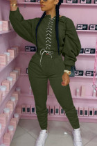 Army Green Fashion Adult Elegant Polyester Solid Bandage O Neck Long Sleeve Regular Sleeve Regular Two Pieces