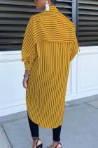 Black yellow Elegant Polyester Striped Fold Turndown Collar Outerwear