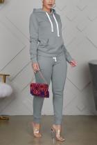 Grey Sportswear Cotton Solid Split Joint Hooded Collar Long Sleeve Regular Sleeve Regular Two Pieces