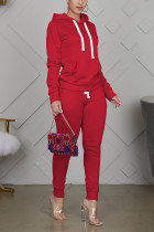 Red Sportswear Cotton Solid Split Joint Hooded Collar Long Sleeve Regular Sleeve Regular Two Pieces