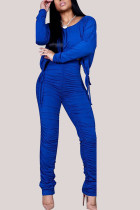 Blue Fashion British Style Adult Polyester Solid Draw String Fold O Neck Long Sleeve Regular Sleeve Short Two Pieces