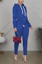 Blue Sportswear Cotton Solid Split Joint Hooded Collar Long Sleeve Regular Sleeve Regular Two Pieces