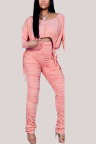 Pink Fashion British Style Adult Polyester Solid Draw String Fold O Neck Long Sleeve Regular Sleeve Short Two Pieces