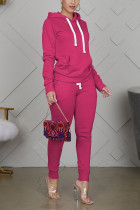 rose red Sportswear Cotton Solid Split Joint Hooded Collar Long Sleeve Regular Sleeve Regular Two Pieces