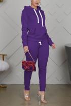 purple Sportswear Cotton Solid Split Joint Hooded Collar Long Sleeve Regular Sleeve Regular Two Pieces