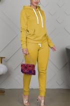 Yellow Sportswear Cotton Solid Split Joint Hooded Collar Long Sleeve Regular Sleeve Regular Two Pieces