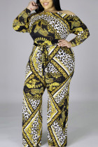 Yellow Casual Knitting Print Split Joint Oblique Collar Regular Plus Size Jumpsuits