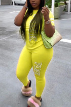 Yellow Fashion Casual Letter Printed Two-piece Set
