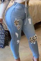 Baby Blue Fashion Street Adult Denim Patchwork Leopard Ripped Split Joint Pants Plus Size